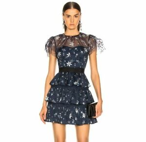 8b54af02 24/12New ! NWT Authentic SELF-PORTRAIT Tiered Star Mesh Printed Mini ...