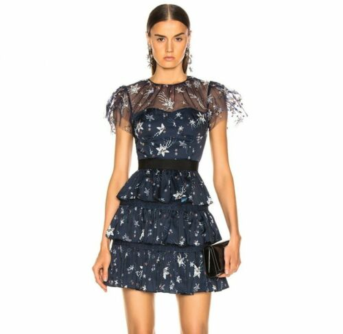 24//12New NWT Authentic SELF-PORTRAIT Tiered Star Mesh Printed Mini Dress