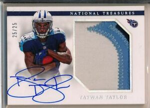 TAYWAN-TAYLOR-2017-National-Treasures-Holo-3-Color-Patch-AUTO-25-25-Titans-RC