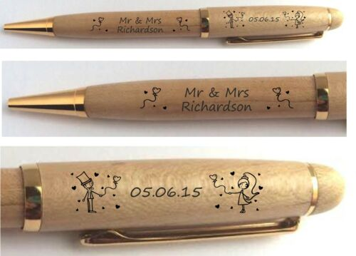 PERSONALISED MR /& MRS ENGRAVED PEN WEDDING ANNIVERSARY GUEST BOOK SIGNING GIFT
