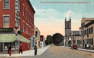 Waterford-New-York-1919-Postcard-Third-Street-North-From-Broad-Street