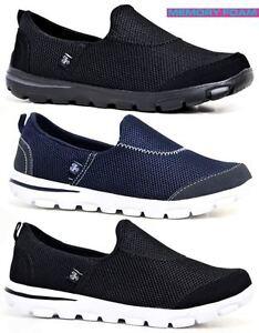 Senoras-obtener-Fit-ir-andando-Slip-On-Gimnasio-Fitness-De-Espuma-De-Memoria-Entrenadores-Zapatos