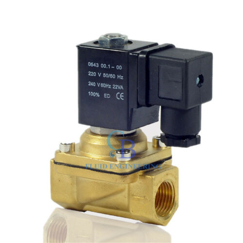 "AC220V G1//2/"" Brass Electric Solenoid Valve Switch Water Air Normally Closed"