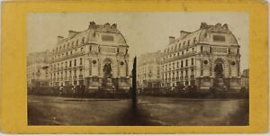 Fontana Saint-Michel Parigi Francia Foto Stereo L5n46 Vintage Albumina c1865