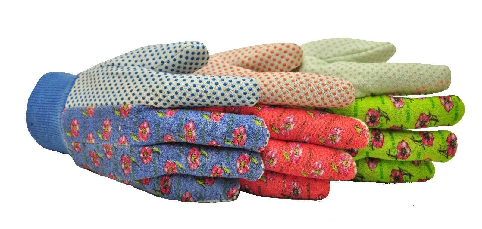 G & F 1852-3 Women Soft Jersey Garden Gloves, Green/Pink/Blue per Pack, 3-Pairs