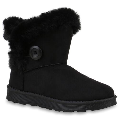894326 Damen Stiefeletten Warm Gefütterte Schlupfstiefel Kunstfell Schuhe Mode