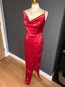 NWT RED STRETCH SATIN EVENING GOWN WITH COWL NECK AND SPLIT SKIRT BY QUIZ SZ 12