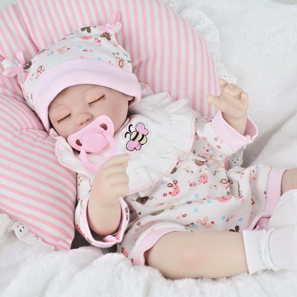 18  Muñeca Reborn Bebé Adorable Niña Silicona Vinilo Muñeca recién nacido realista + Ropa Regalo