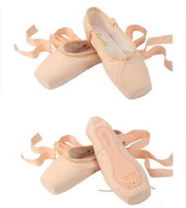 Damen Kinder Ballett Spitzenschuhe Spitzentanz Ballettschuhe & Band Segeltuch 1P