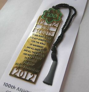 Girl-Scout-100-Anniversary-COMMEMORATIVE-BOOKMARK-24k-Gold-Plated-New-GIFT
