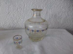 Détails sur ancien petite carafe verre vintage retro art deco french antique