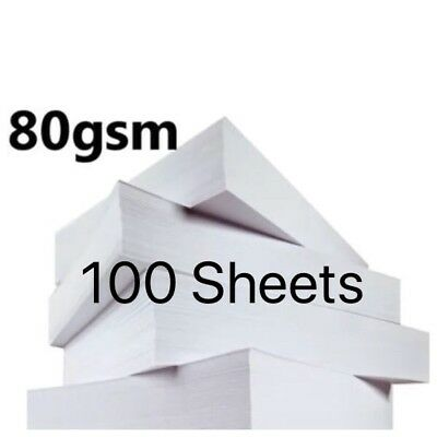 100 Sheets A4  Paper Bright White Printer Copier Office Home Copy Printing