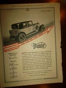 1928 DAIMLER Automobile Print Ad  -  9 X 12 In  -  Postage Consolidated