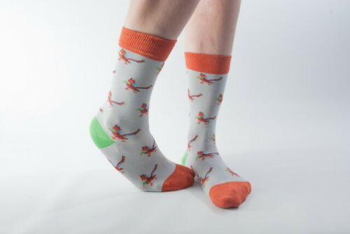 Doris and Dude Bamboo//Organic Cotton Super Soft Socks in Grey with Ducks
