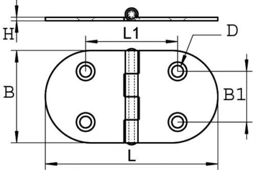 Charnière Acier Inoxydable a2 hexagonal 75 x 40 Arbo-Inox