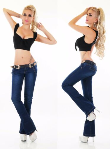 Women/'s Jeans Hipster Trousers Flares Bootcut Impact Belt XS-XL