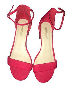 Shoe-Dazzle-Open-Toe-Red-Ankle-Strap-Block-Heel-Sandals-Size-8-Kasha