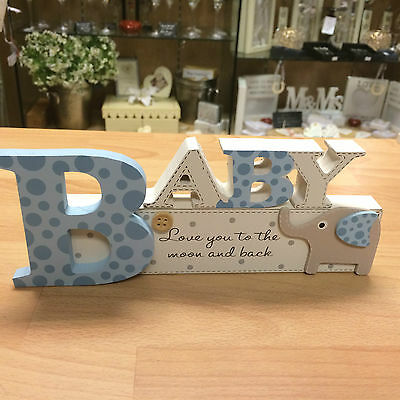 BABY LOVE YOU TO THE MOON AND BACK blue shelf standing elephant sign EE56192