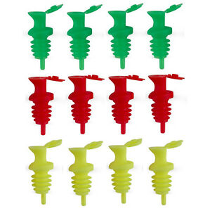 (12) Pour & Seal Free-Flow Liquor Bottle Pourers w/ Lid - Neon Red/Green/Yell<wbr/>ow