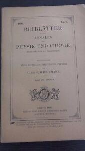 Revista Beiblatter N º 8 Zu Den Annalen Der Physik Y Chemie 1896 Leipzig Verlag