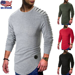 Fashion Men/'s Slim Fit O Neck Long Sleeve Muscle Tee T-shirt Casual Tops Blouse