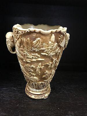 Alte Vase Kunstharz Guss Mit Elefanten Elefantenverzierungen Gewicht Ca.3800 Gr.