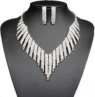 Wedding Bridal Jewelry Set Crystal Rhinestone V Shape Necklace Earrings Women