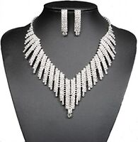 Wedding Bridal Jewelry Set Crystal Rhinestone V Shape Necklace Earrings Women