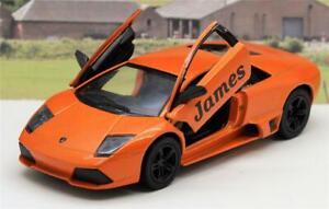 PERSONALISED NAME Orange Lamborghini Boy Toy Dad Model Car Birthday Present Gift