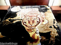 11 Pounds Heavy 2ply Soft Queen Korean Style Mink Blanket White Tiger Lion