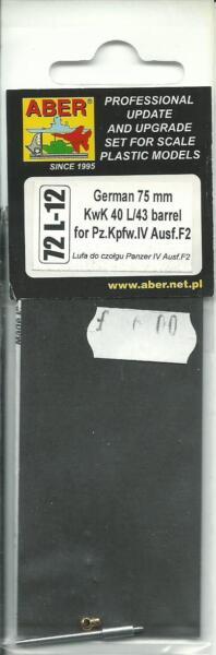 1/72 Aber Allemand Tank Barrel 75 Mm Kwk 40 L/43 For Pz. Pour Kpfw. Iv Ausf.f2 Qualité SupéRieure (En)
