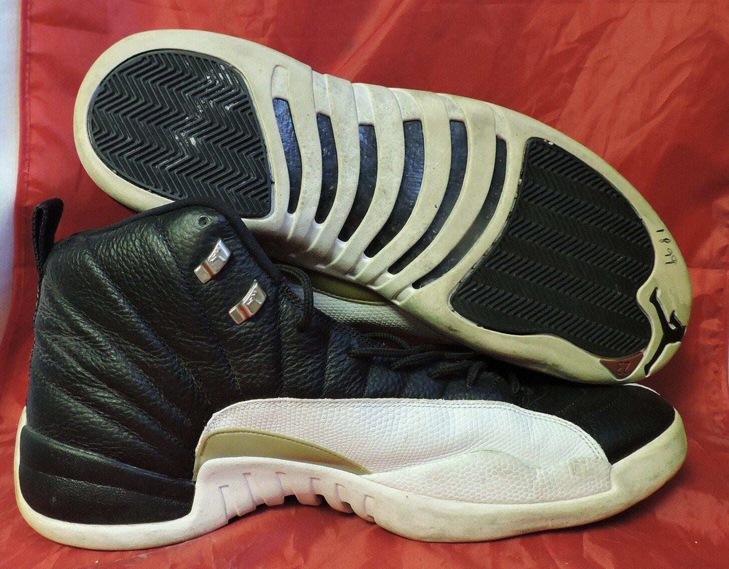 2004 Nike Air Jordan XII 12 Retro PLAYOFF BLACK WHITE COOL GREY 136001-016 SZ 18