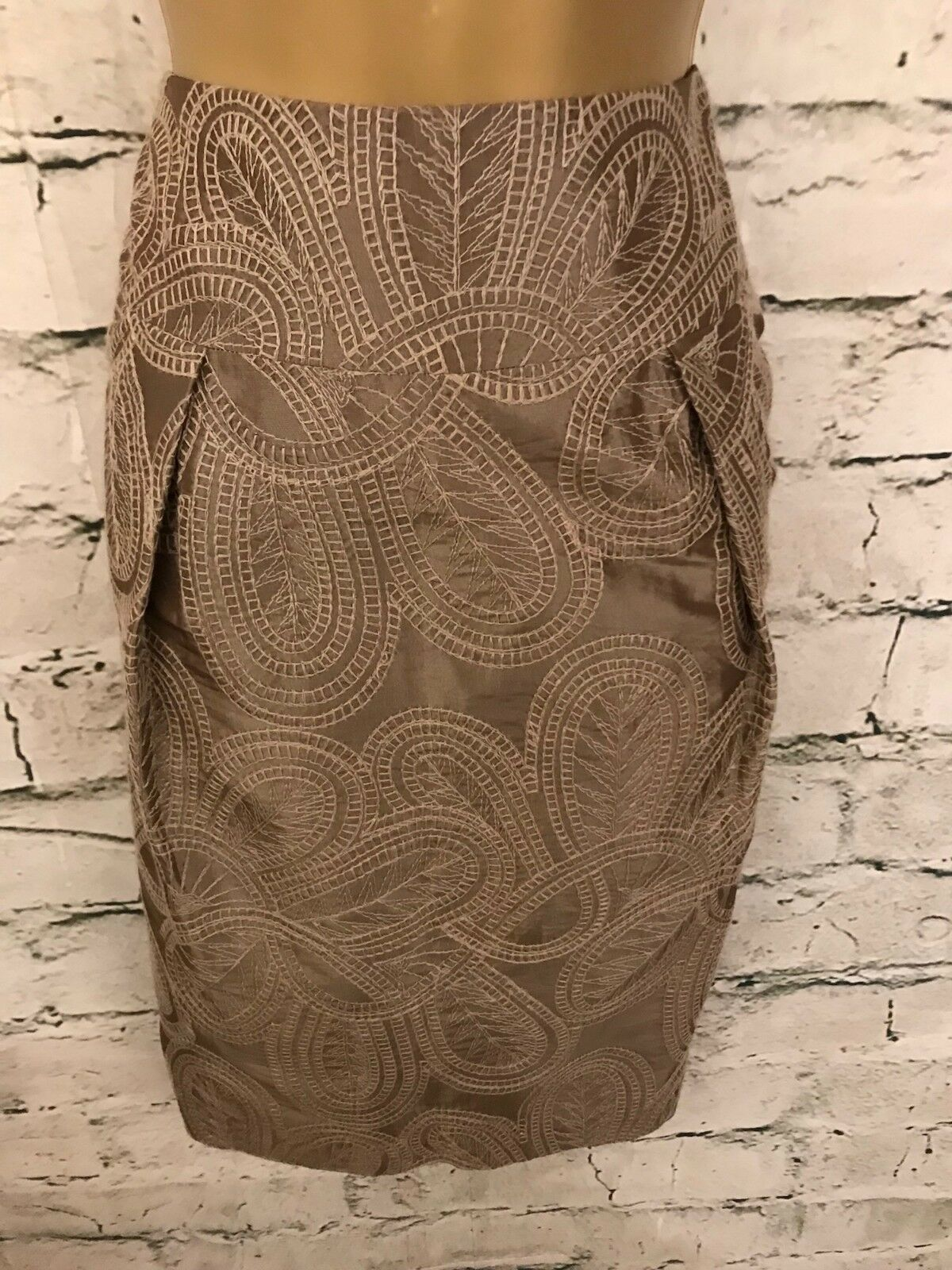 Diktons Barcelona Ladies Mocha Embroidered Silky Pencil Skirt Size 38