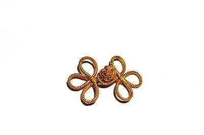 """Kiddo 2"""" Gold Loop Chinese Frog Decorative Button Knot Closure Fastener 6 pairs"""