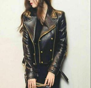 Women Leather Jacket Black Biker Moto Pure Lambskin Size XS S M L XL XXL