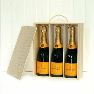 Image is loading 75cl-Veuve-Clicquot-Champagne-3-Bottles-Presented-in-