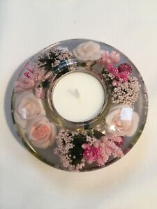 GLASS CANDLE HOLDER WITH FLORAL DESIGN Mini (Pink)