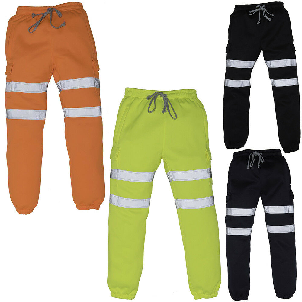 Mens Yoko Antipill Knit Reflective Tape Drawcord Hi-vis Jogging Pants Size S-2XL