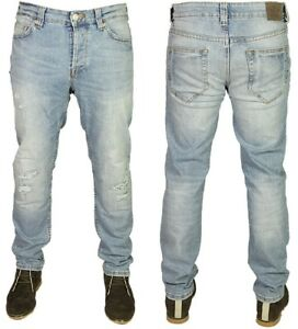 Mens-Only-amp-Sons-Loom-Ripped-Stretch-Designer-Light-Blue-Denim-Jeans-Pants-28-33