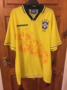 BRASILE 1994-97 Authentic Home Shirt (eccellente) XL Calcio football stile retrò vintage