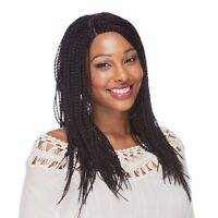 Lace Front Wig Braids Curved Part Darkest Brown 12-14 Inches