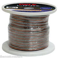 250' Ft Roll 12 Gauge Clear Cca Speaker Wire Cable Car Home Audio Stereo Sound