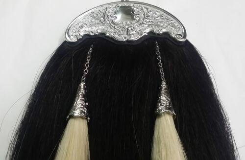 TE SCOTTISH PIPER Original Cheval Noir Cheveux Kilt Sporran Chardon Finition Chrome
