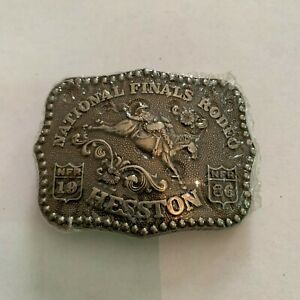 1986-Hesston-National-Finals-Rodeo-Limited-Edition-Miniature-Belt-Buckle