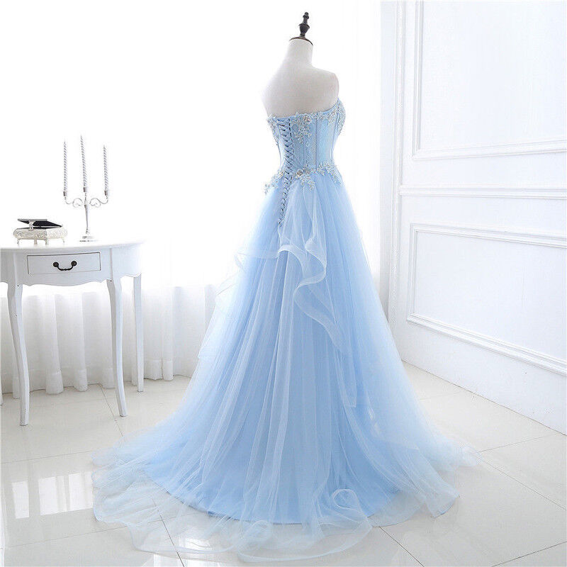 ba349d6982de5 ... Women Long Tulle Lace Evening Formal Party Ball Gown Gown Gown Prom  Bridesmaid Dress NEW 212fee