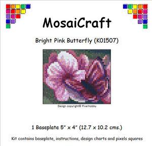 MosaiCraft-Pixel-Mosaico-Arte-Kit-039-Rosa-Brillante-Farfalla-039-Pixelhobby