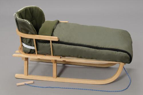 Holzschlitten mit Rückenlehne Winterfußsack Schlitten Dunkelgrün 90 180cm Fleece