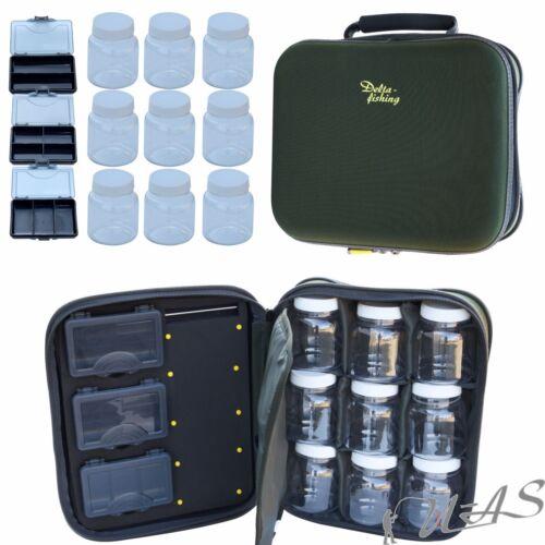Delta Fishing Luxus Karpfen Tasche 3 X Tackle Box Rig Board 9 X Dip Gläser Sha