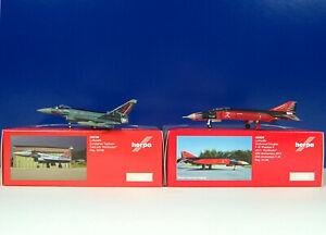 """Collection Ici Herpa Wings 1:200 Luftwaffe Eurofighter 558198 """"baron"""" + Phantom Ii 555920-afficher Le Titre D'origine RéSistance Au Froissement"""