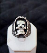 Biker ring, shrouded SKULL , STERLING SILVER